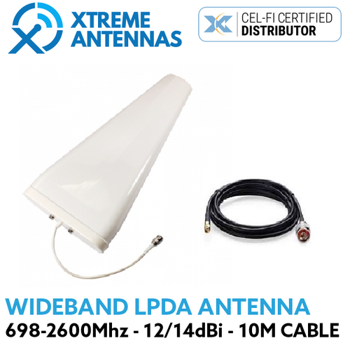 Xtreme Antennas Wideband LPDA for Cel Fi Go 698-2600 MHz 10/11 dBi 3G/4G Antenna + 10m LMR240 cable