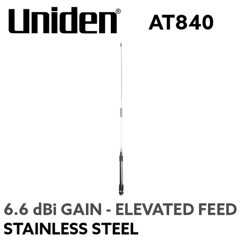 Uniden AT840 UHF Antenna – Elevated Feed and Stainless Steel Whip (6.6 dBi Gain)
