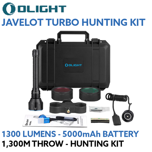 Olight Javelot Turbo Black 1300m Long Range LED Torch Kit