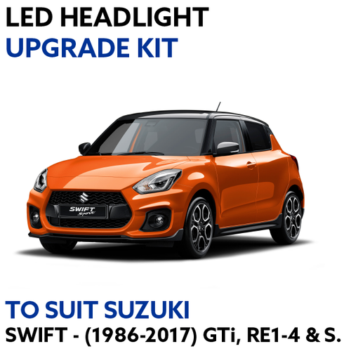 LED Headlight Upgrade Kit for Suzuki Swift 1986-2017 (GTi, RE1, RE2, RE3, RE4 & S Models)