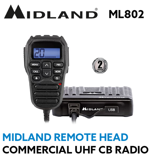 Midland ML802 Remote Head Commercial Compact UHF Radio