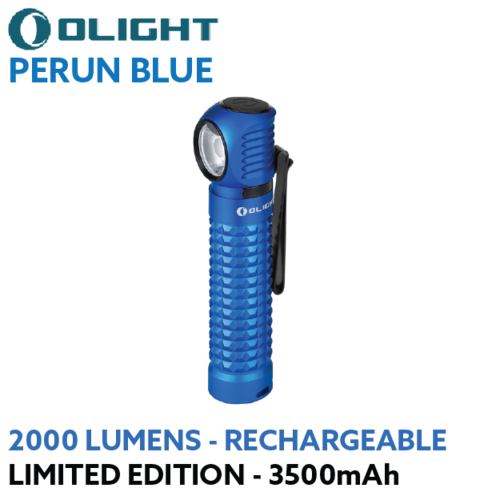 Olight Perun 2000 lumen rechargeable LED right angle torch Limited Edition Blue