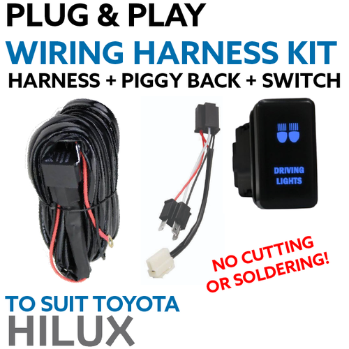 Toyota Hilux Plug and Play Driving Light / Lightbar Wiring Harness Kit
