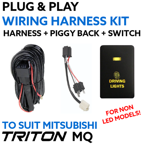 Mitsubishi Triton MQ (Non LED Models) Plug & Play Driving Light / Lightbar Wriring Harness Kit